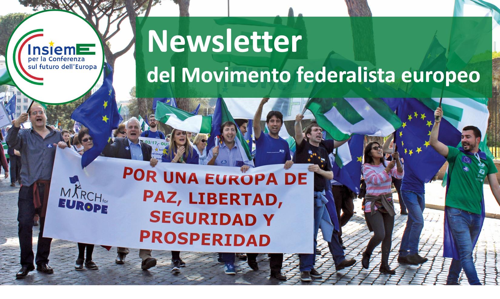 Newsletter del Movimento Federalista Europeo